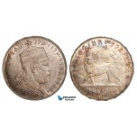 ZB05, Ethiopia, Menelik II, Birr EE 1889-A, Paris, Silver, Toned AU (Min. hairlines)