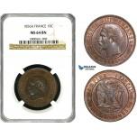 ZB06, France, Napoleon III, 10 Centimes 1856-A, Paris, NGC MS64BN