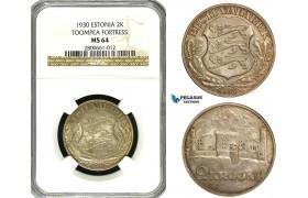 ZB09, Estonia (Toompea Fortress) 2 Krooni 1930, Silver, NGC MS64