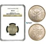 ZB11, Palestine, 50 Mils 1940, Silver, NGC MS62