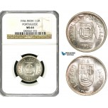 ZB13, India (Portuguese) 1/2 Rupia 1936, Silver, NGC MS64