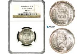 ZB13, India (Portuguese) 1/2 Rupia 1936, Silver, NGC MS64