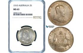 ZB17, Australia, Edward VII, Florin - 2 Shillings 1910, Silver, NGC MS63