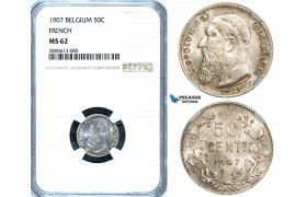 ZB18, Belgium, Leopold II, 50 Centimes 1907, Silver, NGC MS62 (French Legends)