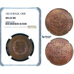 ZB20, Brazil, Joao VI, 40 Reis 1821-R, Rio de Janeiro, NGC MS62BN