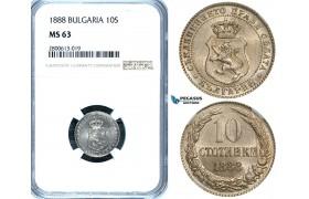 ZB22, Bulgaria, Ferdinand I, 10 Stotinki 1888, NGC MS63