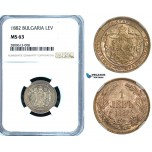 ZB25, Bulgaria, Alexander I, 1 Lev 1882, St. Petersburg, Silver, NGC MS63