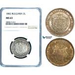 ZB26, Bulgaria, Alexander I, 2 Lev 1882, St. Petersburg, Silver, NGC MS63