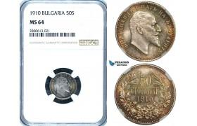 ZB27, Bulgaria, Ferdinand I, 50 Sotinki 1910, Silver, NGC MS64 (Pop 1/2, No finer)