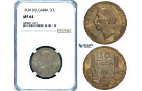 ZB28, Bulgaria, Boris III, 50 Leva 1934, Silver, NGC MS64 (Pop 1/0, Finest) Rare Grade!