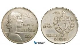"""ZB33, Cuba, """"ABC"""" Peso 1935, Silver, aXF"""