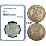 ZB36, France, Louis XIV, 1/2 Ecu 1650-H, La Rochelle, Silver, NGC AU58