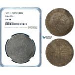 ZB37, France, Louis XIV, Ecu 1691-H, La Rochelle, NGC AU58
