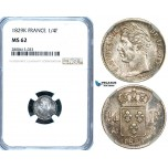 ZB38, France, Charles X, 1/4 Franc 1829-K, Bordeaux, Silver, NGC MS62