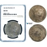 ZB39, France, Napoleon, 5 Francs 1813-B, Rouen, Silver, NGC AU55