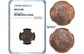 ZB46, Greece, George I, 2 Lepta 1869-BB, Strasbourg, NGC MS63RB