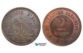 ZB47, Haiti, Æ Pattern 2 Centimes 1889, Copper, KM# Pn86, AU