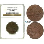 ZB49, India, Madras Presidency, 20 Cash ND (1807) NGC MS62BN (Pop 1/0, Finest) Rare!