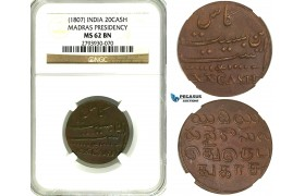ZB49, India, Madras Presidency, 20 Cash ND (1807) NGC MS62BN (Pop 1/0, Finest) Rare!