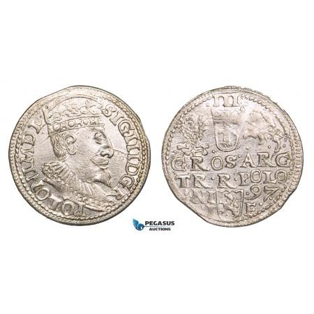 ZB52, Poland, Sigismund III, 3 Groschen (Trojak) 1597 I/F, Olkusz, Silver (2.43g) aUNC
