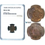 ZB59, Switzerland, 1 Rappen 1868-B, Bern, NGC MS61BN
