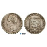 ZB60, Venezuela, 5 Centavos 1876-A, Paris, Silver, edge cut, VF
