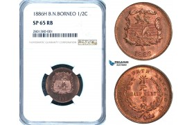 ZB62, British North Borneo, 1/2 Cent 1886-H, Heaton, NGC SP65RB