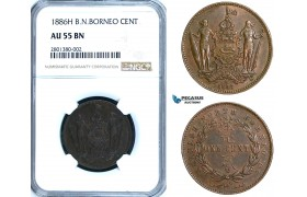 ZB63, British North Borneo, 1 Cent 1886-H, Heaton, NGC AU55BN