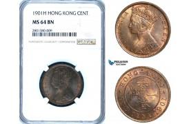 ZB71, Hong Kong, Victoria, 1 Cent 1901-H, Heaton, NGC MS64BN