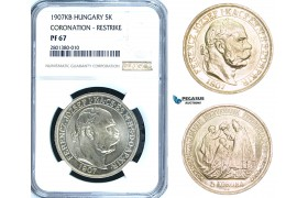 "ZB72, Hungary, Franz Joseph, 5 Korona 1907-KB, Kremnitz, Silver, Restrike without ""UP"" only 950pcs. struck! NGC PF67"