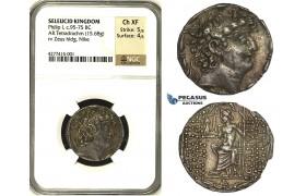 ZB79, Seleucid Kingdom. Philip I Philadelphus (95/4-76/5 BC). AR Tetradrachm (15.68g). Antioch, ca. 88/7-76/5 BC, Zeus/Nike, NGC Ch XF