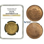 ZB81, Bulgaria, Ferdinand I, Copper Pattern 10 Santim 1879-AB, Paris, NGC MS64RB