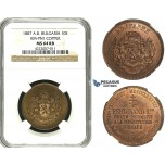 ZB84, Bulgaria, Ferdinand I, Copper Pattern 10 Santim 1887-AB, Paris, NGC MS64RB