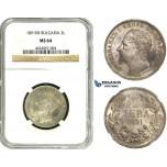 ZB85, Bulgaria, Ferdinand I, 2 Leva 1891-KB, Kremnica, Silver, NGC MS64, Pop 1/0, Finest! Rare!