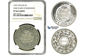 ZB87, Ceylon, 5 Rupees 1957 (2500 Years Buddhism) Silver, 1800 pcs. minted! NGC PF66 Cameo