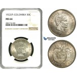 ZB88, Colombia, 50 Centavos 1922 (P) Silver, NGC MS64, Pop 2