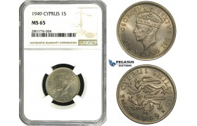 ZB89, Cyprus, George VI, 1 Shilling 1949, NGC MS65, Pop 1/7, No finer!