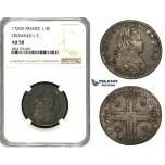 ZB92, France, Louis XV, 1/3 Ecu (Petit Louis d'Argent) 1720-A, Paris, Silver, NGC AU58 (Crowned L'S)