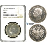 ZB94, Germany, Baden, Friedrich II, 3 Mark 1914-G, Karlsruhe, Silver, NGC PF62