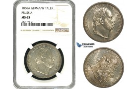ZB96, Germany, Prussia, Wilhelm I, 1 Taler 1866-A, Berlin, Silver, NGC MS63