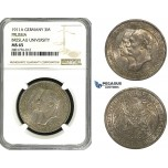 ZB97, Germany, Prussia, Wilhelm II, 3 Mark 1911-A, Berlin, Silver, NGC MS65 (Breslau University)