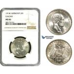 ZB99, Germany, Saxony, Fr. August, 2 Mark 1914-E, Silver, NGC MS66, Pop 2