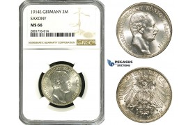 ZB99, Germany, Saxony, Fr. August, 2 Mark 1914-E, Silver, NGC MS66, Pop 2