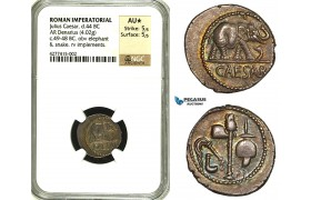 ZC01, Roman Imperatorial, Julius Caesar as Dictator (49-44 BC) AR Denarius (3.49g) Military mint, 49 BC, Elephant, NGC AU★
