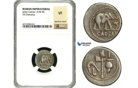 ZC02, Roman Imperatorial, Julius Caesar as Dictator (49-44 BC) AR Denarius (3.49g) Military mint, 49 BC, Elephant, NGC VF