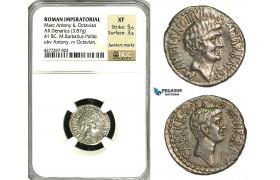 ZC03, Roman Imperatorial, Marcus Antonius and Octavian AR Denarius (3.87g) Ephesus, 41 BC, Octavian, NGC XF