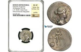 ZC05, Roman Imperatorial, Octavian (27 BC - 14 AD) AR Denarius (3.61g) Rome, 36-30 BC, Neptune, NGC Ch VF