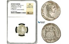 ZC07, Roman Empire, Augustus (27 BC - 14 AD) AR Denarius (3.77g) Lugdunum, 2 BC - 4 AD, Shields, NGC AU