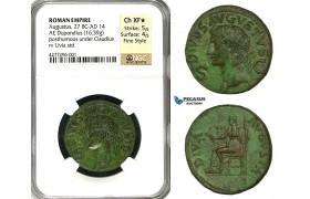 ZC08, Roman Empire, Divus Augustus (d. 14 AD) Æ Dupondius (16.39g) Rome, 42-50 AD (Struck under Claudius) Livia, NGC XF★ Fine Style