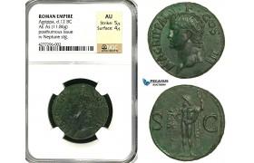 ZC11, Roman Empire, Agrippa (d. 12 BC) Æ As (11.86g) Rome, 37-41 AD (Struck under Caligula) Neptune, Fantastic!, NGC AU